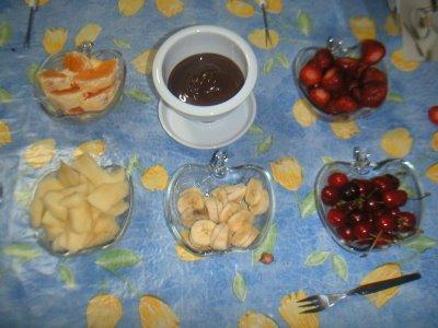 Fondue de frutas con chocolate 2