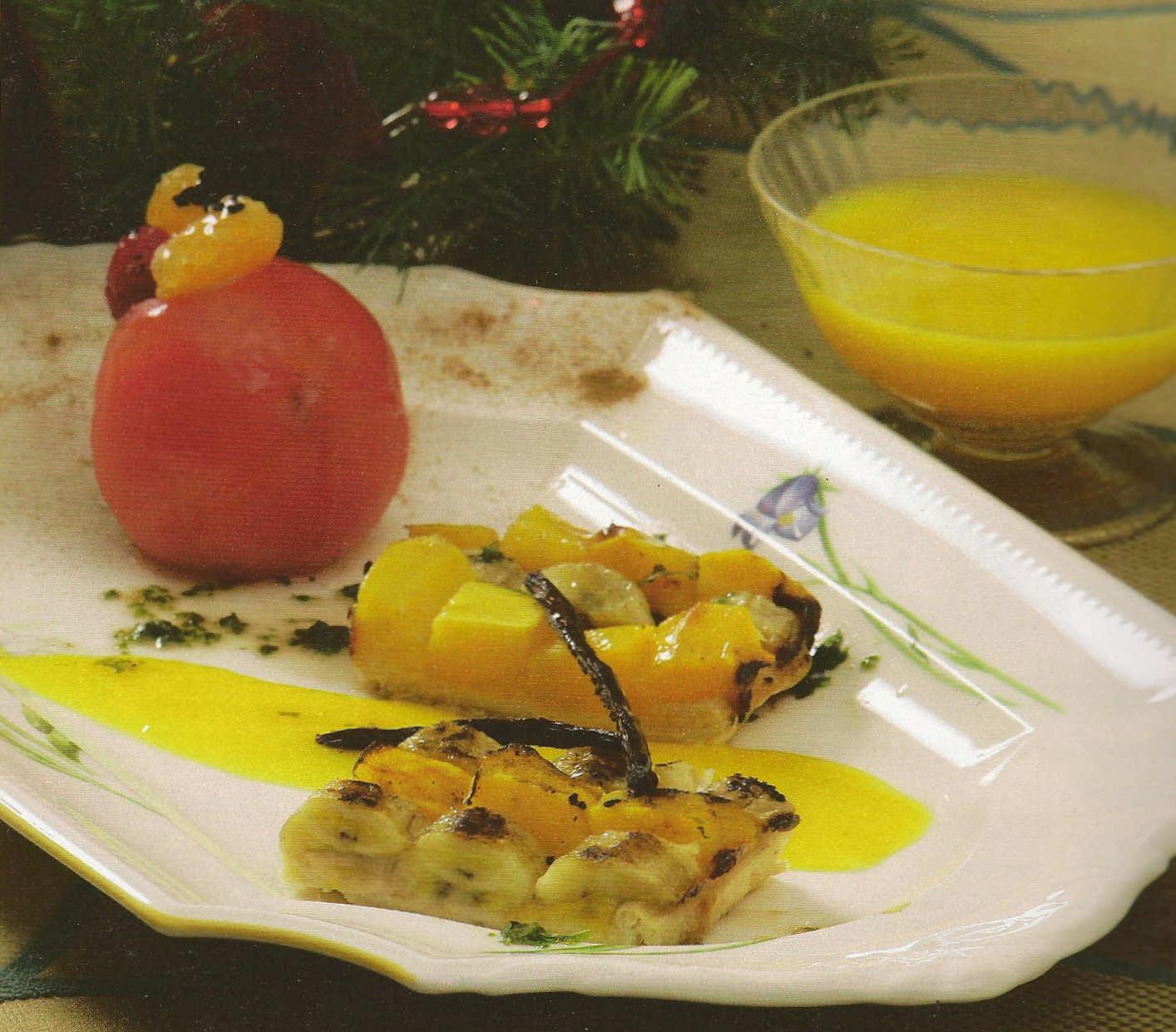 tarta tatin platano mango salsa limon canela