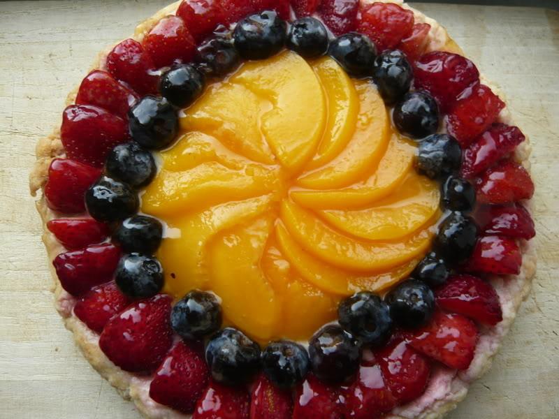 tarta de frutas fresas arandanos melocotones