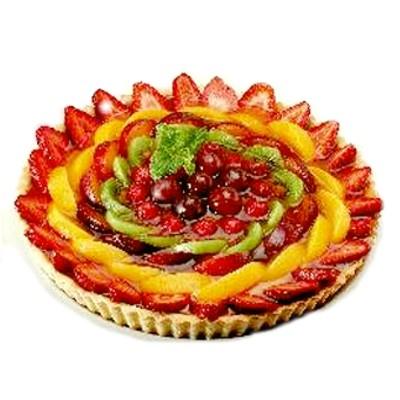tarta de frutas fresas melocotones guindas kiwis