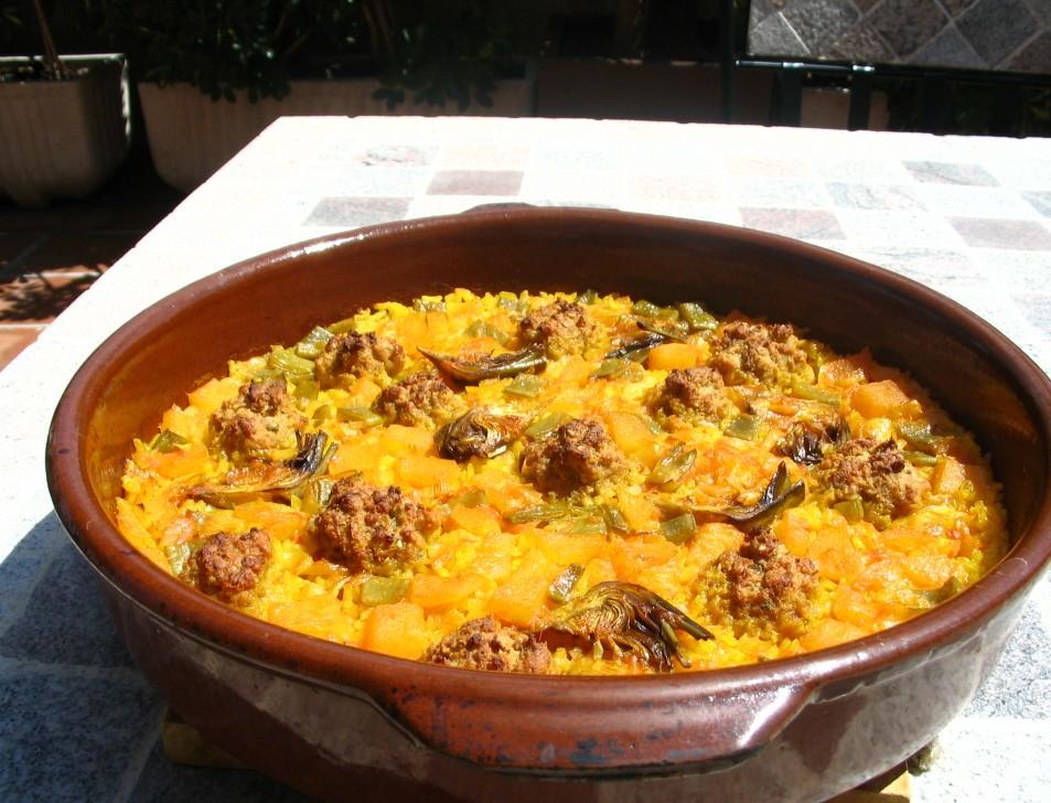 arroz paella albondigas verduras