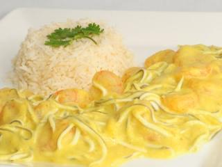Gambas gulas curry arroz basmati receta