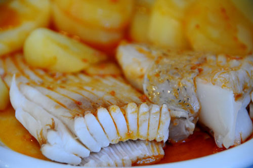 raya receta pescado salsa mejillones