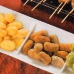 Croquetas de calabaza, maíz, espinacas y morcilla