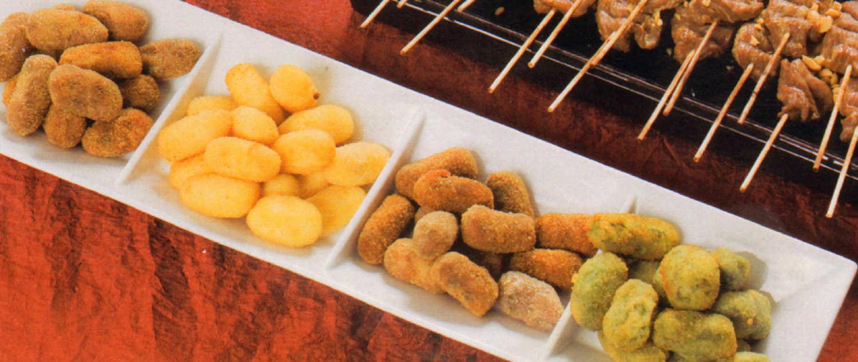 Croquetas calabaza maiz espinacas morcilla