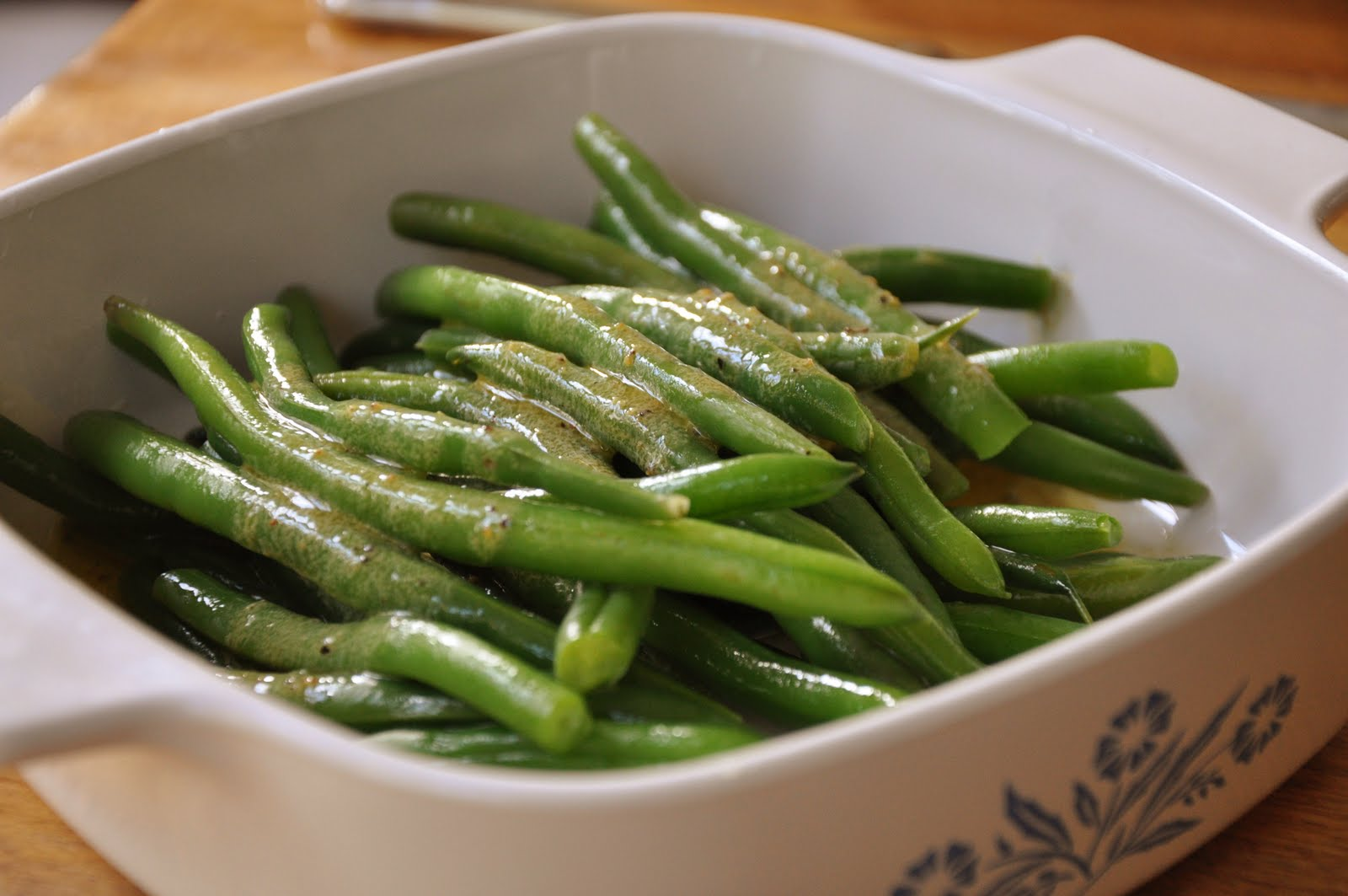judias verdes alinadas vinagreta