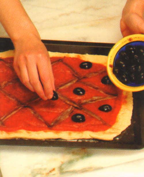 coccion pizza anchoas aceitunas