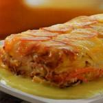 Pastel de patata y zanahoria con salsa de puerros