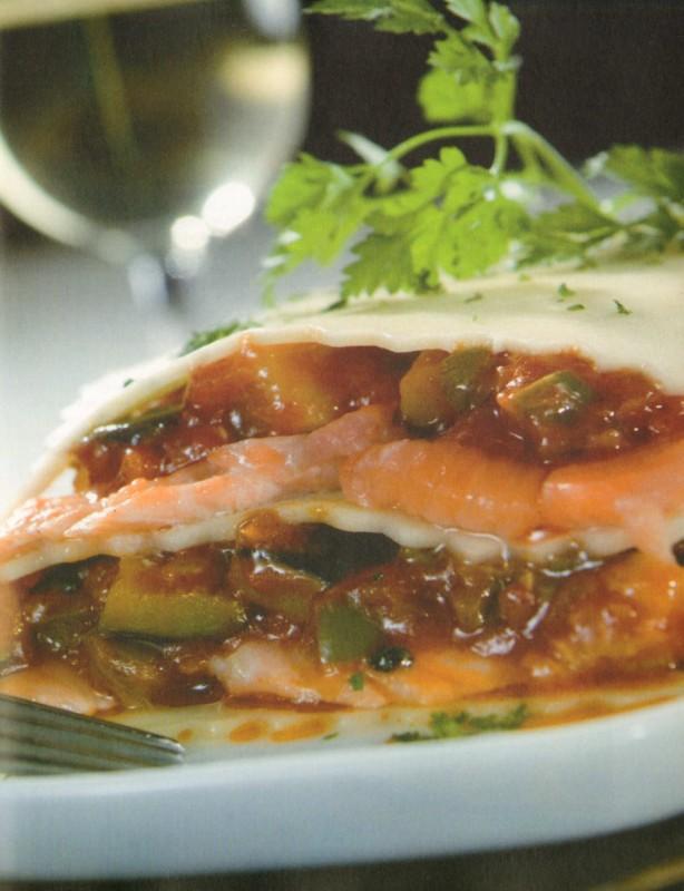 lasana de salmon con pisto