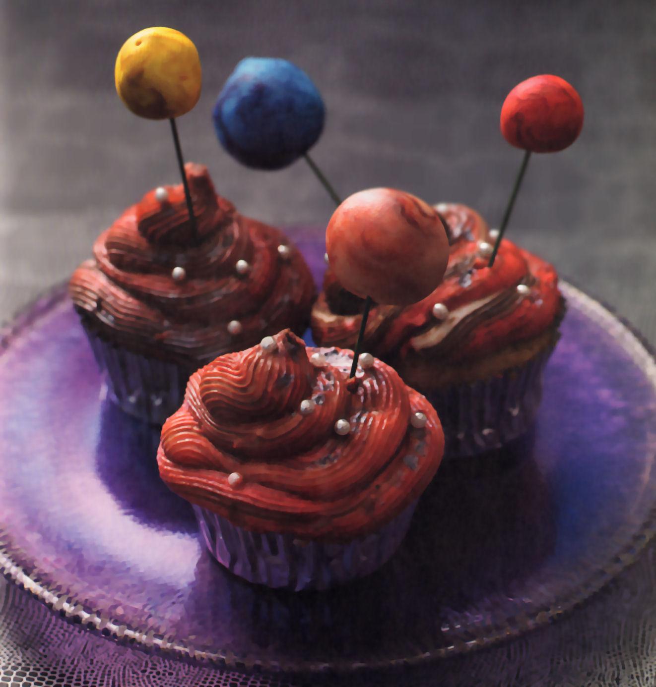 cupcakes sistema solar frambuesa