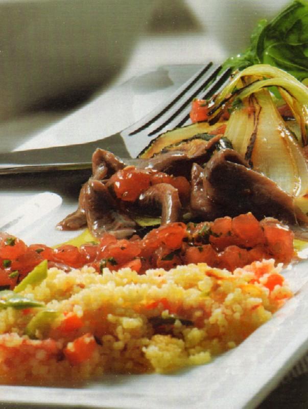 verduras plancha aceite tomate anchoas cuscus