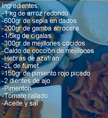 ingredientes paella marisco