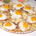 Huevos a la plancha con manzanas