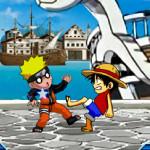 Juego de lucha con Luffy y Naruto