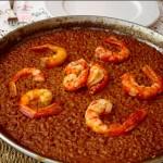 Paella de arroz con carabineros y gambas