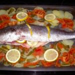 Perca o corvina al horno con verduras