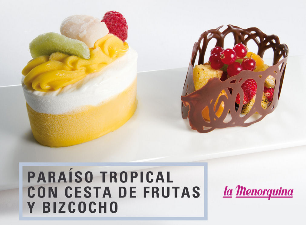paraiso tropical cesta frutas bizcocho