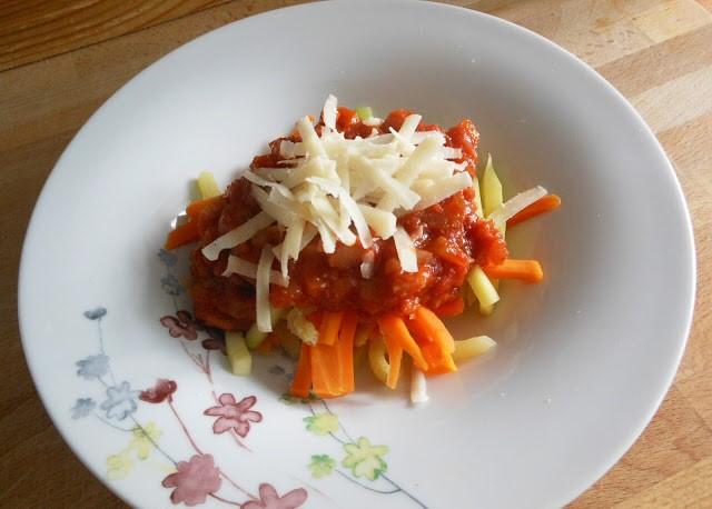 tallarines calabacin zanahoria bolonesa