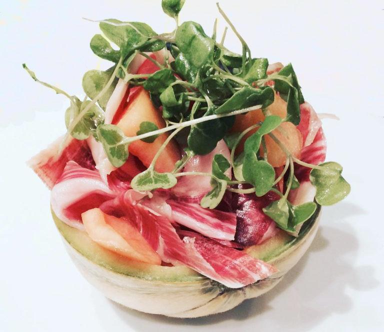 ensalada jamon iberico melon canonigos